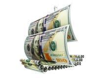 Schiff mit Geld Stockfotos