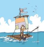 Schiffbrüchige auf einem Floss Lizenzfreie Stockbilder