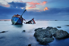 Schiffbruch in Ang Sila, Chonburi, Thailand Lizenzfreies Stockbild