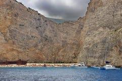 Schiffbruch auf dem Navagio-Strand Lizenzfreies Stockbild