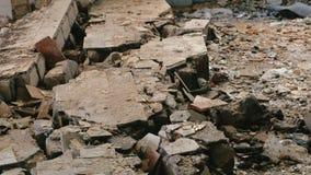 Schiffbruch des zerstörten Gebäudes stock video footage