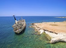 Schiffbruch EDRO III, Pegeia, Paphos Lizenzfreie Stockfotos