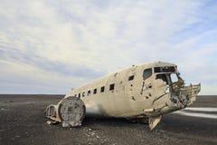 Schiffbruch einer Fläche: Notlandung in Island Stockbild