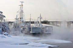 Schiffe am Winterpark stockfotografie