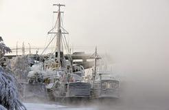 Schiffe am Winterpark stockbild