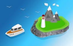 Schiffe, die zum Leuchtturm segeln Lizenzfreie Stockbilder