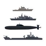 Schiffe eingestelltes Militär-Schiff oder Boot benutzt von der Marine stock abbildung