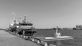 Schiffe festgemacht im Hafen von Kalmar Stockfotografie
