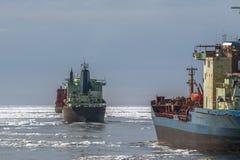 Schiffe im Eis Stockbild
