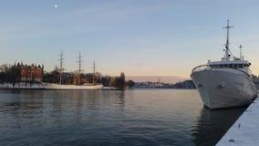 Schiffe in Stockholm Stockfoto