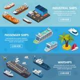 Schiffs-Boots-Schiff-isometrische Fahnen eingestellt stock abbildung