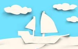 Schiffs-Papier geschnitten - Weiß Stockfotos