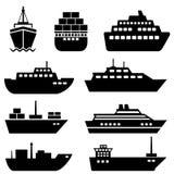 Schiffs- und Bootsikonen Stockfoto