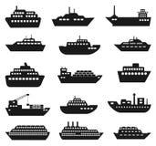 Schiffs- und Bootsikonensatz Lizenzfreie Stockfotografie