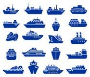 Schiffs- und Bootsikonensatz Lizenzfreies Stockbild