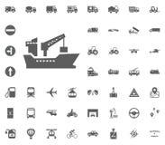 Schiffsikone Gesetzte Ikonen des Transportes und der Logistik Gesetzte Ikonen des Transportes Stockfotos
