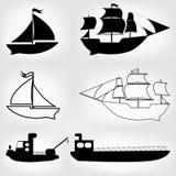 Schiffsikonen eingestellt Stockbild