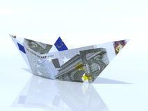 Schiffsmodell gemacht aus Eurobanknote heraus Stockbild