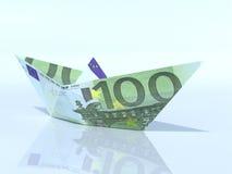 Schiffsmodell gemacht aus Eurobanknote heraus Stockfoto