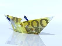 Schiffsmodell gemacht aus Eurobanknote heraus Stockfotos