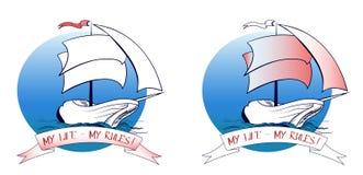 Schiffssegeln, das auf die Wellen geht lizenzfreie abbildung