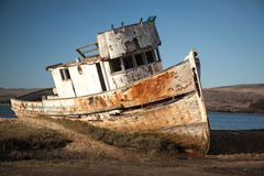 Schiffswrack Verlassenes hölzernes Boot Stockfotografie