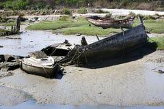Schiffswrackfallen trocken bei Ebbe in Noirmoutier Lizenzfreies Stockbild