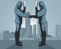Schijnheilige handdruk van zakenlieden vector illustratie