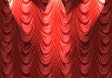 Schijnwerper op rood gordijn Stock Afbeeldingen