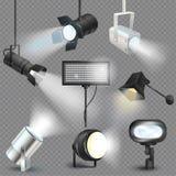 Schijnwerper vector toont licht studio met vleklampen op de illustratiereeks van het theaterstadium van projectorlichten het foto stock illustratie
