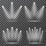 Schijnwerpers met lichtstralen op transparante achtergrond vector illustratie