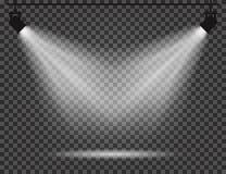 Schijnwerpers met lichtstralen op transparante achtergrond Realistische schijnwerpers voor theater, fotostudio, overleg vector illustratie