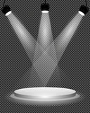 Schijnwerpers op stadium, podium en heldere lichte verlichting op transparante achtergrond, ontwerpmalplaatje, vectorillustratie royalty-vrije illustratie