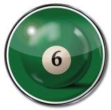 Green pool billiard ball number 6. And fun stock illustration