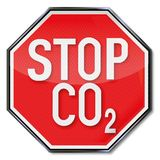 Stop for CO2. Stop sign CO2 and air pollution royalty free illustration