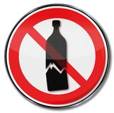 Warning of possible glass breakage and sensitive goods. Prohibition sign warning of possible glass breakage and sensitive goods royalty free illustration