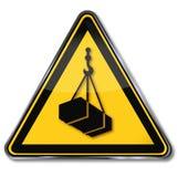 Warning of suspended load. Warning sign warning of suspended load royalty free illustration
