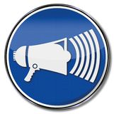 Sign with a megaphone. And big noise royalty free illustration