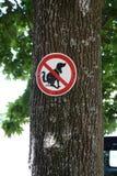 Schild an Baum Hunde dürfen hier nicht kacken. Rotes Schild mit Balken und Hund. Verbotsschild, hier dürden Hunde nicht kacken dog dont shit here Stock Images