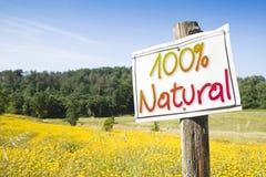 Schild in der Landschaft mit geschrieben Lizenzfreie Stockbilder