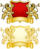 Schild en Banner met Leeuwen Royalty-vrije Stock Foto's