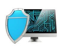 Schild en computer het scherm, computerbeveiligingconcept Stock Afbeeldingen