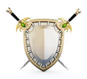 Schild en gekruiste zwaarden 3D Illustratie stock illustratie