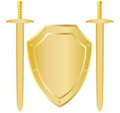 Schild en twee zwaarden stock illustratie