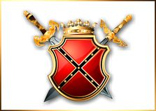 Schild en twee zwaarden van de wereld van fantasie stock illustratie
