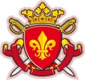 Schild, Farbbänder, Krone, Wappenkunde Fleur-de-lys Stockbild