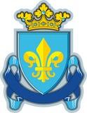 Schild, Farbbänder, Krone, Wappenkunde Fleur-de-lys Lizenzfreies Stockfoto