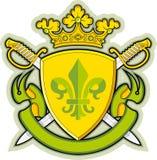 Schild, Farbbänder, Krone, Wappenkunde Fleur-de-lys Stockbilder