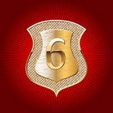 Schild in goud met alfabetsymbool Stock Afbeeldingen