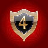 Schild im Gold mit Alphabetsymbol Lizenzfreie Stockfotografie